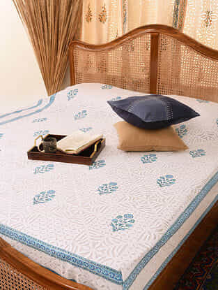 Hand Crafted Applique Cotton Block Printed Double Bedcover (L - 104in, W - 83in)