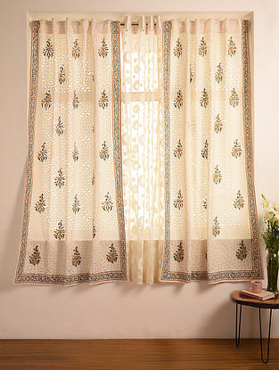Hand Crafted Applique Cotton Block Printed Curtain (L - 84in, W - 46in)