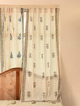 Hand Crafted Applique Cotton Block Printed Curtain (L - 84in, W - 47in)