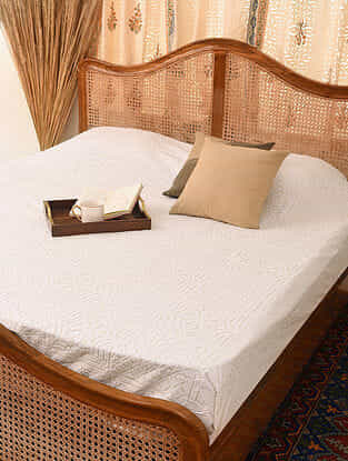 Hand Crafted Applique Cotton Double Bedcover (L - 100in, W - 84in)