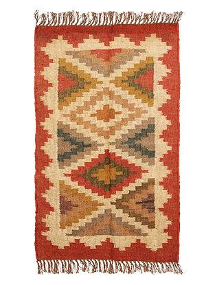Multicolor Wool and Jute Panja Dhurrie(Length - 4.ft, Width - 2.6 ft)
