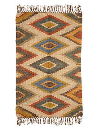 Multicolor Wool and Jute Panja Dhurrie(Length - 4.ft, Width - 2.7 ft)