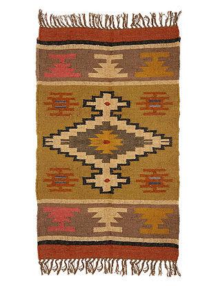 Multicolor Wool and Jute Panja Dhurrie(Length - 4.ft, Width - 2. 5 ft)