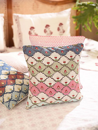 Multicolored Printed Cushion Cover (L-16in, W-16in)