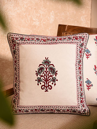 Hand Block Printed Cushion Cover (L-16in, W-16in)