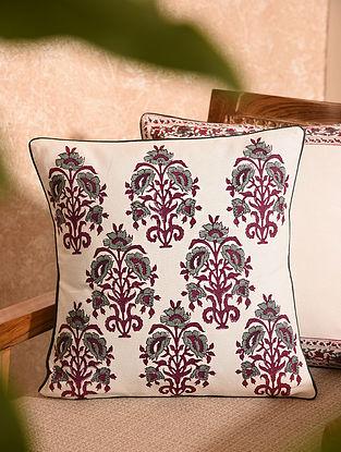 Multicolored Handblock Printed Cushion Cover (L-16in, W-16in)