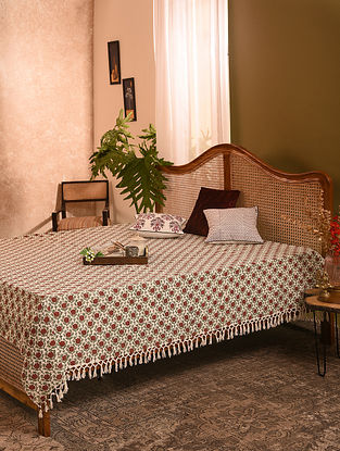 Pink and Green Handblock Printed Double Bedcover (L-110in, W-90in)
