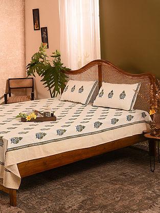 Grey and Yellow Handblock Printed Double Bedsheet Set of 3