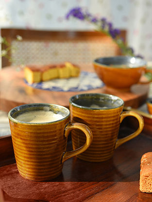 Mustard and Royal Blue Ribbed Mugs Set Of 2 (L-5in, W-3.5in,H-3.7in)