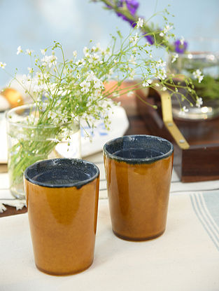 Mustard and Royal Blue Tumbler Set Of 2 (Dia-3in,H-3.6in)