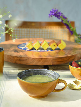Mustard and Royal Blue Soup cup (L-6in, W-4.7in, H-2.2in)