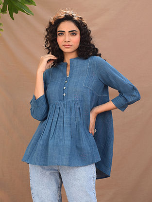 Indigo Natural Dyed Handloom Tangaliya Top