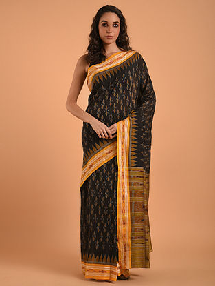 Black Sambalpuri Ikat Cotton Saree