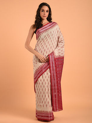 Off White Sambalpuri Ikat Cotton Saree