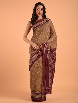Brown Sambalpuri Ikat Cotton Saree