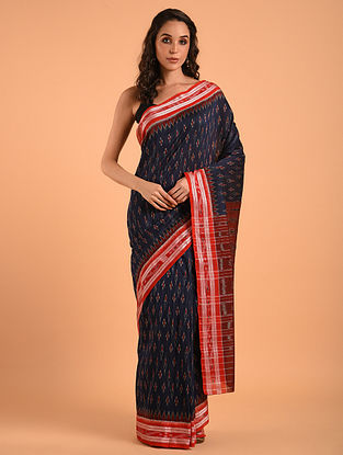 Blue Sambalpuri Ikat Cotton Saree