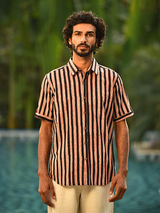 Black Block Printed  Cotton Half Sleeve Shirt