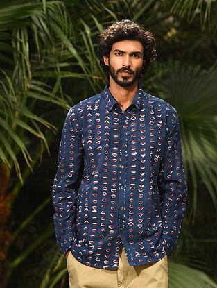 Blue Dabu Printed Cotton Full Sleeve Shirt