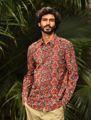 Red Block Printed Cotton Full Sleeve Shirt