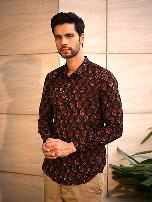 Black Dabu Printed Cotton Full Sleeve Shirt