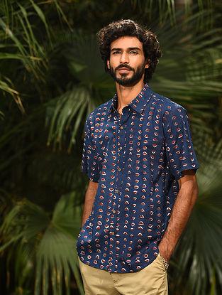 Blue Dabu Printed Cotton Half Sleeve Shirt