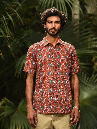 Red Block Printed Cotton Half Sleeve Shirt