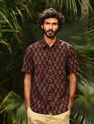Black Dabu Printed Cotton Half Sleeve Shirt