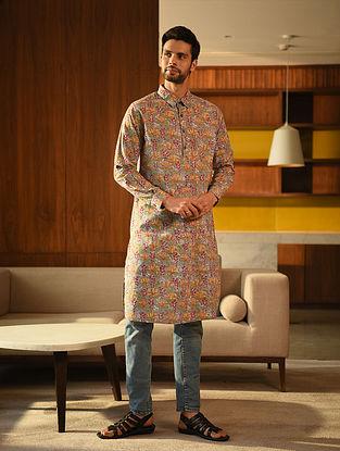 Multicolor Block Printed Cotton Long Kurta