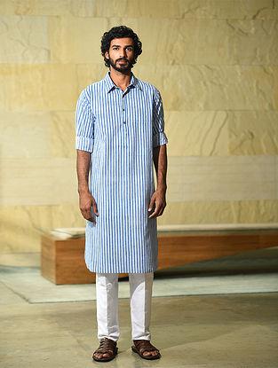 White-Blue Block Printed Cotton Long Kurta
