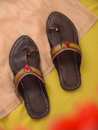 Brown Yellow Handcrafted Genuine Leather Kolhapuri Flats