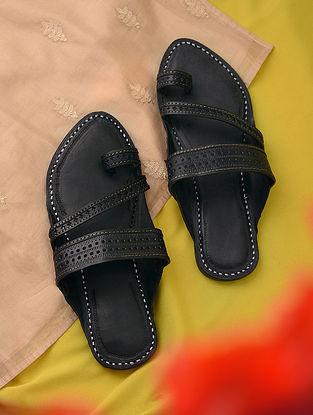 Black Handcrafted Genuine Leather Kolhapuri for Men