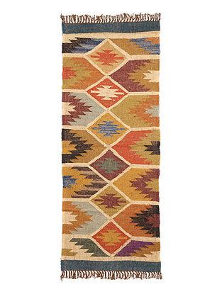 Multicolor Wool and Jute Panja Dhurrie(Length - 5 ft, Width - 2 ft)