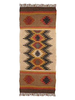 Multicolor Wool and Jute Panja Dhurrie(Length - 4.8 ft, Width - 2 ft)