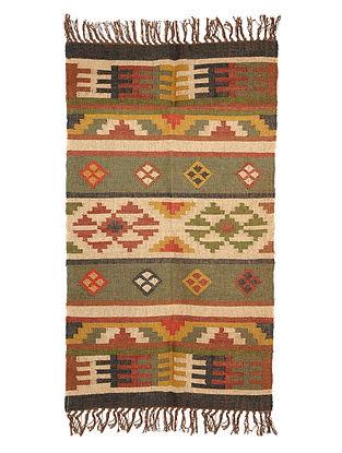 Multicolor Wool and Jute Panja Dhurrie(Length - 5 .2 ft, Width - 3 ft)