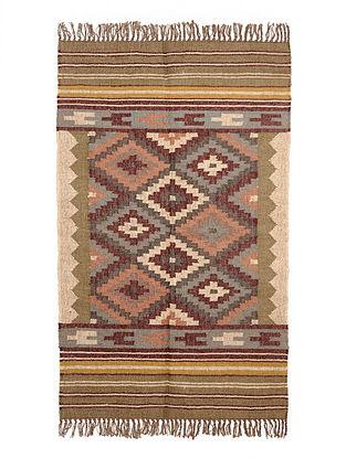 Multicolor Wool and Jute Panja Dhurrie(Length - 4.11 ft, Width - 3 ft)
