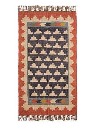 Multicolor Wool and Jute Panja Dhurrie(Length - 5.2 ft, Width - 3 ft)