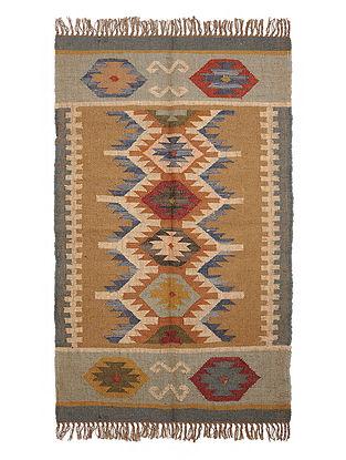 Multicolor Wool and Jute Panja Dhurrie(Length - 5 ft, Width - 3 ft)