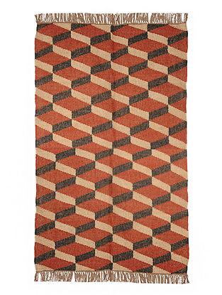 Multicolor Wool and Jute Panja Dhurrie(Length - 5.9 ft, Width - 4 ft)