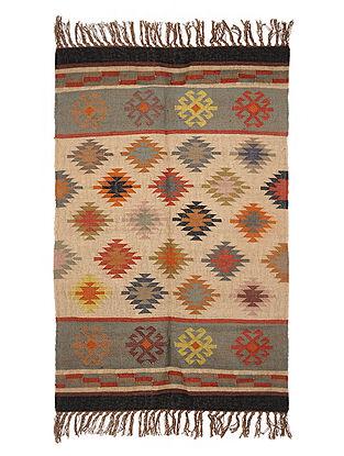 Multicolor Wool and Jute Panja Dhurrie(Length - 6 ft, Width - 4 ft)