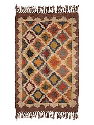 Multicolor Wool and Jute Panja Dhurrie(Length - 6 ft, Width - 3.11 ft)