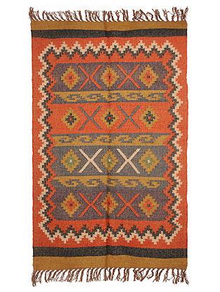 Multicolor Wool and Jute Panja Dhurrie(Length - 5.10 ft, Width - 4 ft)