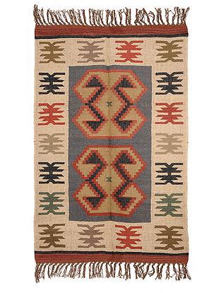 Multicolor Wool and Jute Panja Dhurrie(Length - 5.11 ft, Width - 4 ft)