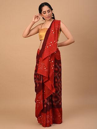 Red Bandhani Cotton Mul Saree