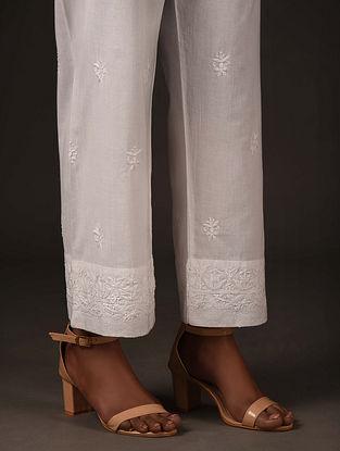 White Tie-up Waist Chikankari Pants