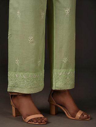 Green Tie-up Waist Chikankari Pants