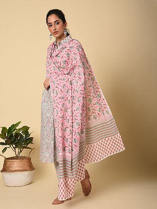 Pink-Blue Block Printed Cotton Dupatta