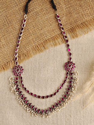 Maroon Temple Silver Necklace with Pearls