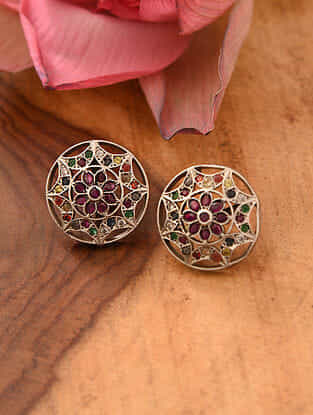Navratan Temple Silver Earrings