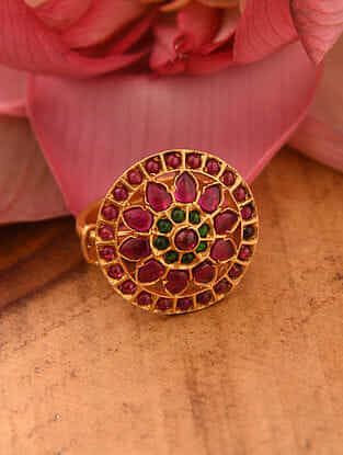 Maroon Gold Tone Temple Silver Adjustable Ring