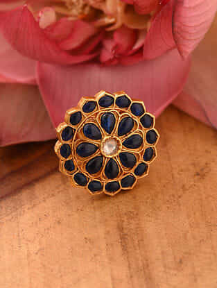 Blue Gold Tone Temple Silver Adjustable Ring